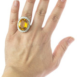 Vintage Light Topaz and Clear Swarovski Crystal Cocktail Ring 18k Yellow Gold Electroplated Made in USA