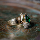 Vintage Ring Emerald Cubic Zirconia and Clear Swarovski Crystals 18kt Yellow Gold Electroplated