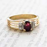 Vintage Garnet Cubic Zirconia Ring -  Clear Swarovski Crystal Side Accents - 18kt Yellow Gold Electroplated - January Birthstone - Made in the USA