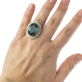 Vintage Sapphire and Clear Swarovski Crystal Cocktail Ring 18k Yellow Gold Electroplated Made in USA