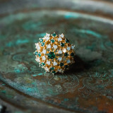 Vintage Tourmaline Crystal and Pinfire Opal Burst Ring 18k Yellow Gold Electroplated Made in USA