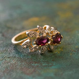 Vintage Ring Genuine Garnet and Clear Swarovski Crystals 18kt Yellow Gold Plated Band