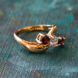 Vintage Genuine Garnet and Clear Swarovski Crystals 18k Yellow Gold Plated Band Made in USA