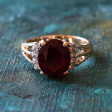 Vintage 1980's Garnet Cubic Zirconia Ring 18k Yellow Gold Electroplated Made in USA