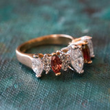 Vintage Genuine Garnet and Clear Cubic Zirconia Cocktail Ring 18k Yellow Gold Electroplated