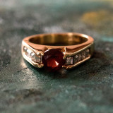 Vintage Genuine Garnet and Clear Cubic Zirconia Accents 18k Gold Plated Made in USA