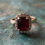 Vintage Garnet Cubic Zirconia Ring with Clear Swarovski Crystals 18k Yellow Gold Electroplated