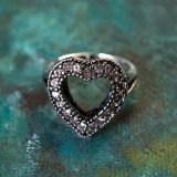 Vintage Clear Swarovski Crystal Heart Ring Antiqued 18k White Gold Electroplated Made in USA R17561