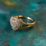Vintage Clear Swarovski Crystals Heart Ring 18k Yellow Gold Electroplated Ring Made in USA