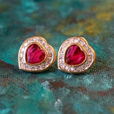 Vintage Red Cabochon Heart and Clear Crystal Clip Earrings 18k Yellow Gold Electroplated