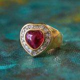 Vintage Ring Red and Clear Swarovski Crystals Heart Ring 18k Yellow Gold Electroplated Ring