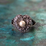 Vintage Pearl and Swarovski Crystal Heart Ring Antiqued 18k White Gold Electroplated Made in USA