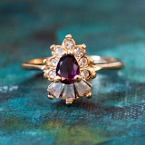 Vintage 1990's Amethyst and Clear Swarovski Crystals 18k Yellow Gold Plated Ring Made in USA