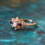Vintage Ring Genuine Opal with Amethyst and Clear Swarovski Crystals 18k Yellow Gold Plated Made in USA
