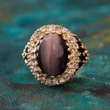 Vintage Genuine Purple Cat's Eye and Clear Crystal Ring 18k Antiqued Yellow Gold Electroplated