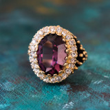 Vintage Amethyst and Clear Crystal 18k Antiqued Yellow Gold Electroplated Ring Made in the USA