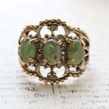 Vintage Genuine Jade Cabochon Stones Cocktail Ring - 18kt Yellow Gold Electroplated - Made in the USA