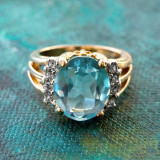 Vintage Aquamarine Cubic Zirconia Ring with Clear Swarovski Crystals 18k Yellow Gold Electroplated