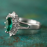 Vintage Ring Emerald and Clear Swarovski Crystals 18kt White Gold Electroplated Made in USA