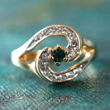 Vintage Emerald Cubic Zirconia 18k Yellow Gold Plated Ring with Clear Swarovski Crystals Made in USA