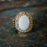 Vintage Genuine Opal and Clear Crystal Ring Edwardian Style 18k Antiqued Yellow Gold Electroplated Ring R169