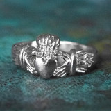 Handcrafted Vintage 18k White Gold Electroplated Irish Claddagh Ring Made in USA