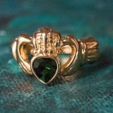Vintage Jewelry Green Tourmaline Swarovski Crystal Claddagh Ring 18k Yellow Gold Electroplated