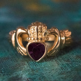 Vintage Jewelry Amethyst Swarovski Crystal Claddagh Ring 18k Yellow Gold Electroplated