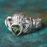 Vintage Jewelry Green Tourmaline Swarovski Crystal Claddagh Ring 18k White Gold Electroplated