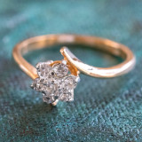Vintage Jewelry Clear Swarovski Crystal Flower Motif Cocktail Ring 18k Yellow Gold Electroplate