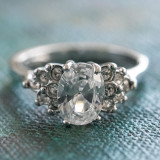 Vintage Ring Clear Cubic Zirconia 18kt White Gold Electroplated Made in USA