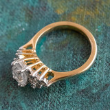 Vintage Ring Clear Cubic Zirconia 18kt Yellow Gold Electroplated Made in USA