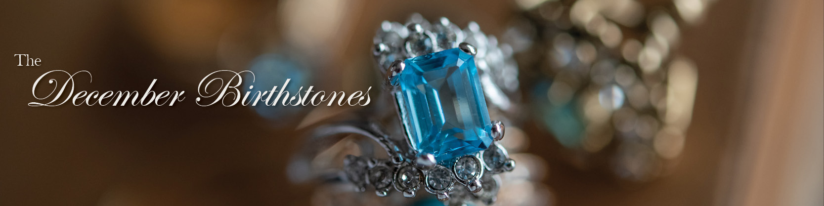 December birthstone vintage turquoise, blue zircon, blue topaz, and tanzanite rings - cubic zirconia - clear Swarovski crystals