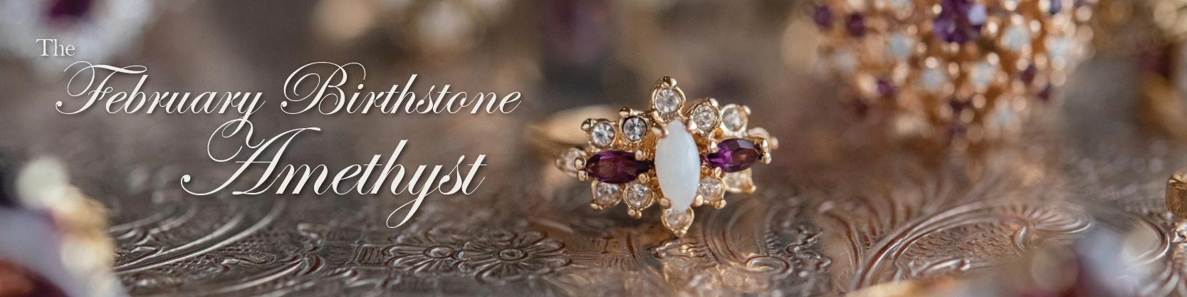 February birthstone vintage amethyst ring - cubic zirconia - clear Swarovski crystals