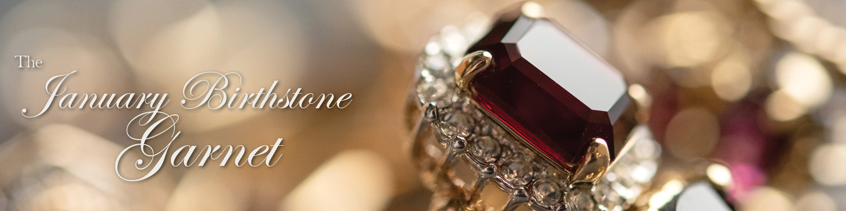 January birthstone vintage garnet rings - cubic zirconia - clear Swarovski crystals