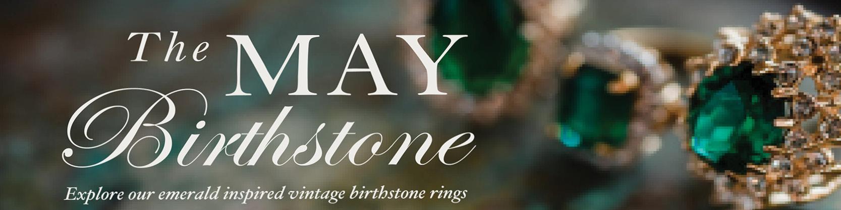 May birthstone vintage emerald ring - cubic zirconia - clear Swarovski crystals