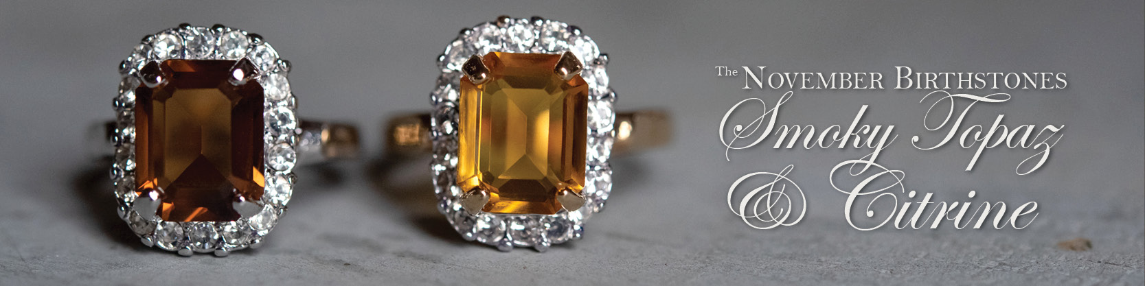 November birthstone vintage topaz and citrine rings - cubic zirconia - clear Swarovski crystals