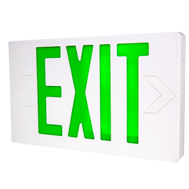 LED Exit w/ Battery Backup Green Letters 120/277V - LTEL002G