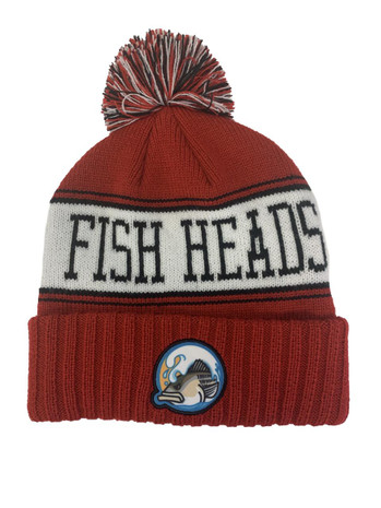 Fish Heads Striper Wave Patch Pom Pom Beanie - 414945000450