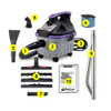 ProGuard Vacuum kit includes: (1.) 10-foot flexible hose.  (2.) ProGuard 4 Wet/Dry Vacuum. (3.) Extension Cord.  (4.) Fine Dust Filter.  (5.) Carpet/Upholstery Claw Nozzle.  (6.) Soft Dusting Brush. (7.) Crevice Tool. (8.) Master Tool Adapter with carpet, hard floor tool and squeegee inserts. (9.) Two-Piece Wand.  (10.) Owners Manual.