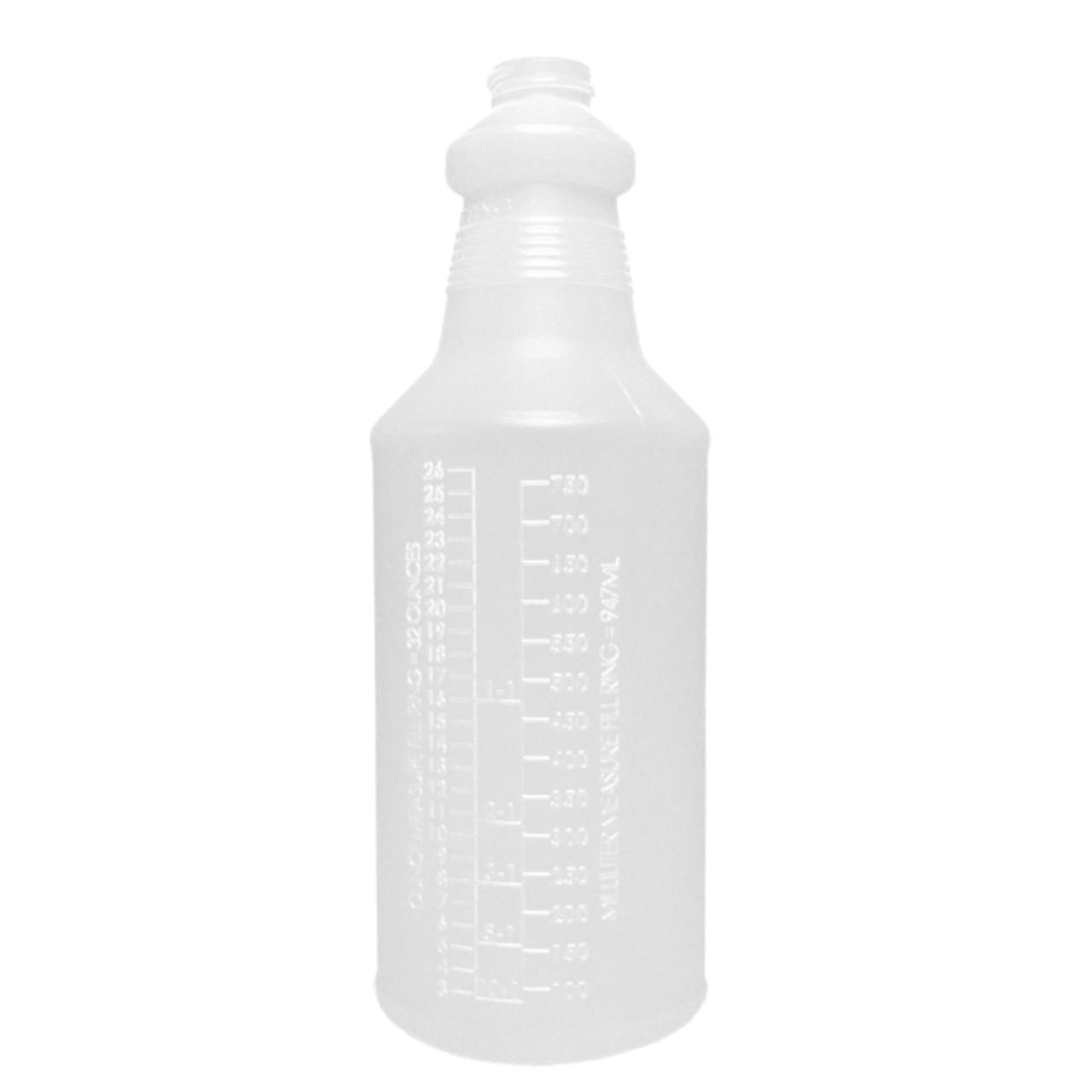 "32oz round spray bottle uses a sprayer with a 9-1/2"" dip tube."