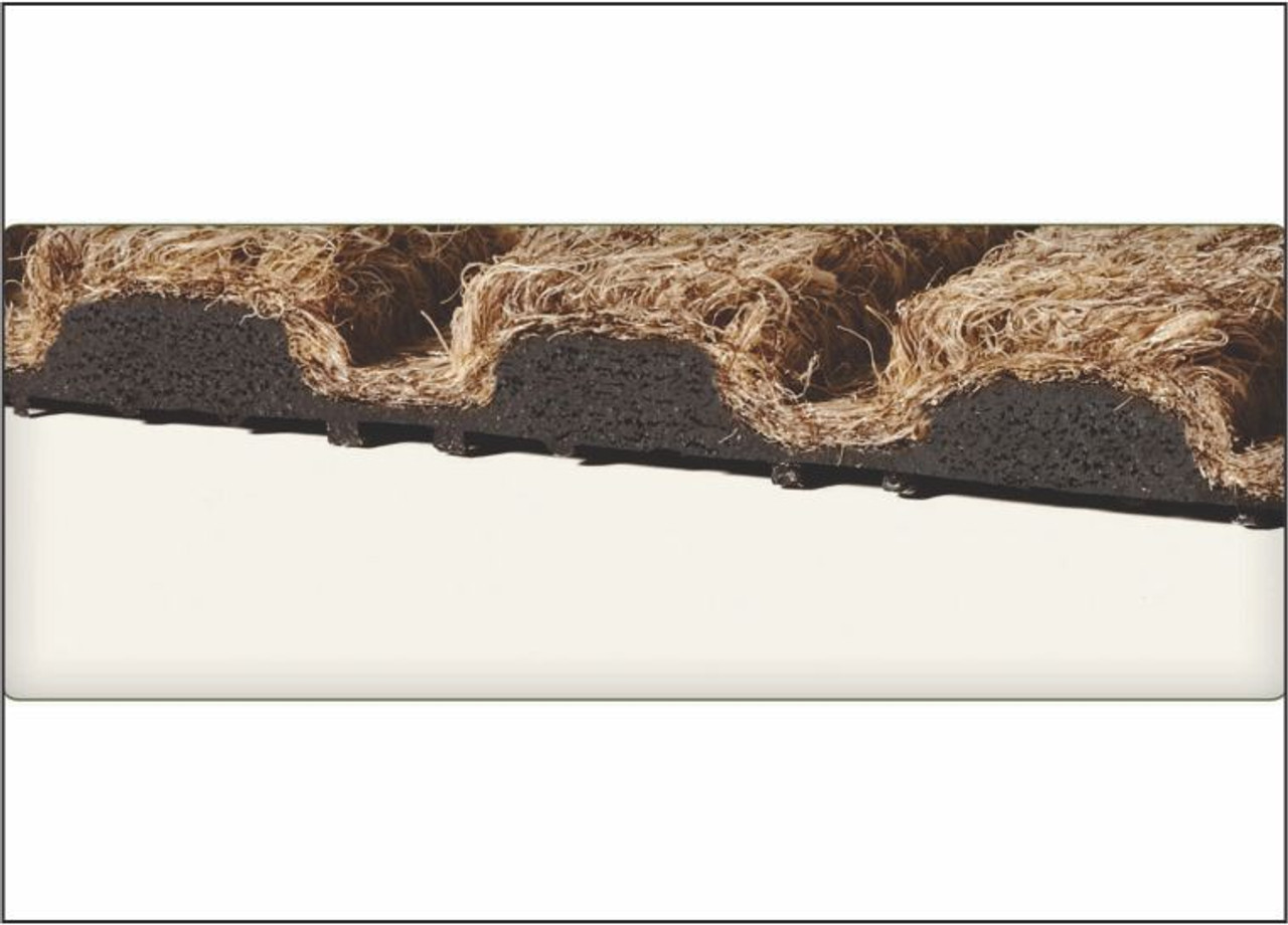 Reinforced ridged construction removes and traps dirt and moisture.