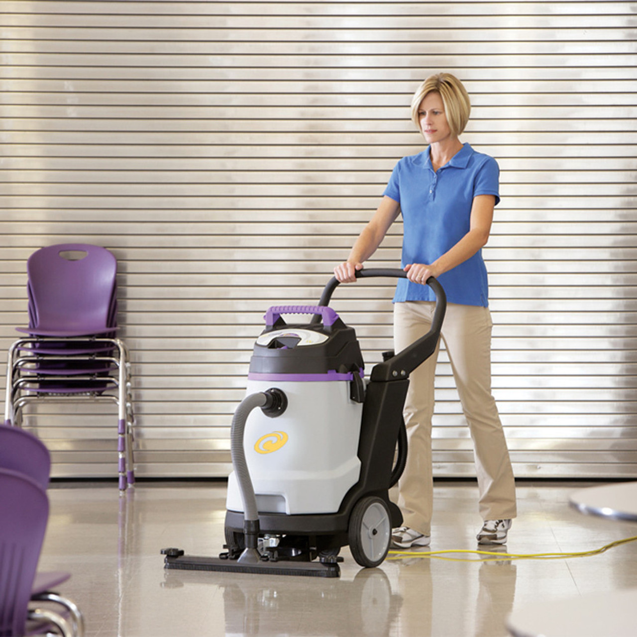 Use the ProGuard 15 wet/dry vacuum to tackle large spills and messy floors, often a problem in cafeterias.