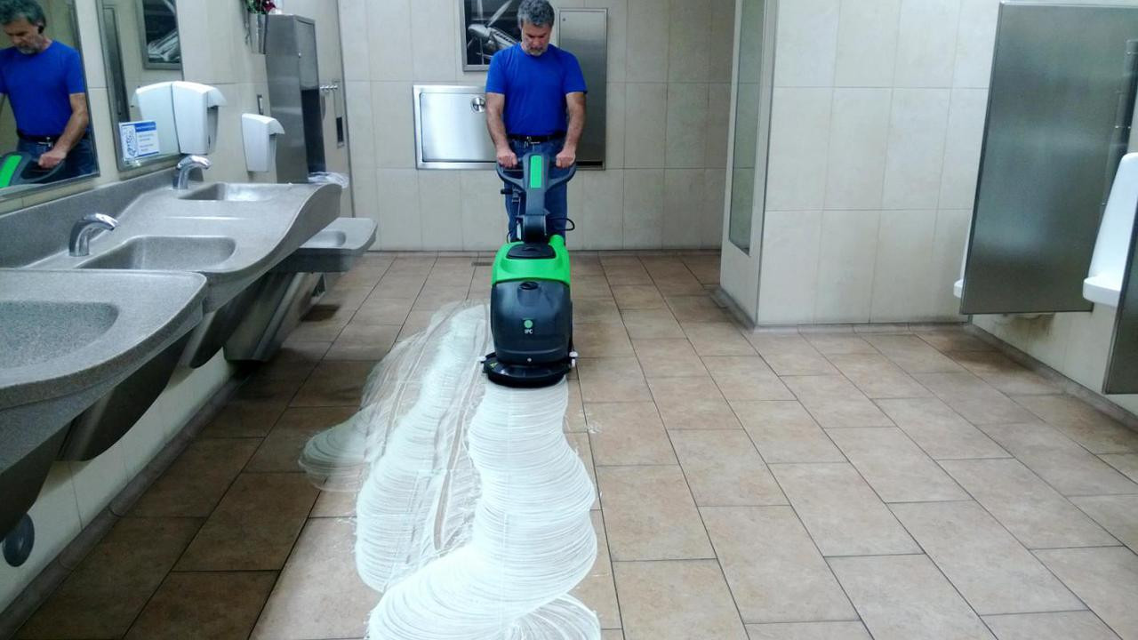 Simplify cleaning floors in high traffic areas such as this Walmart bathroom.