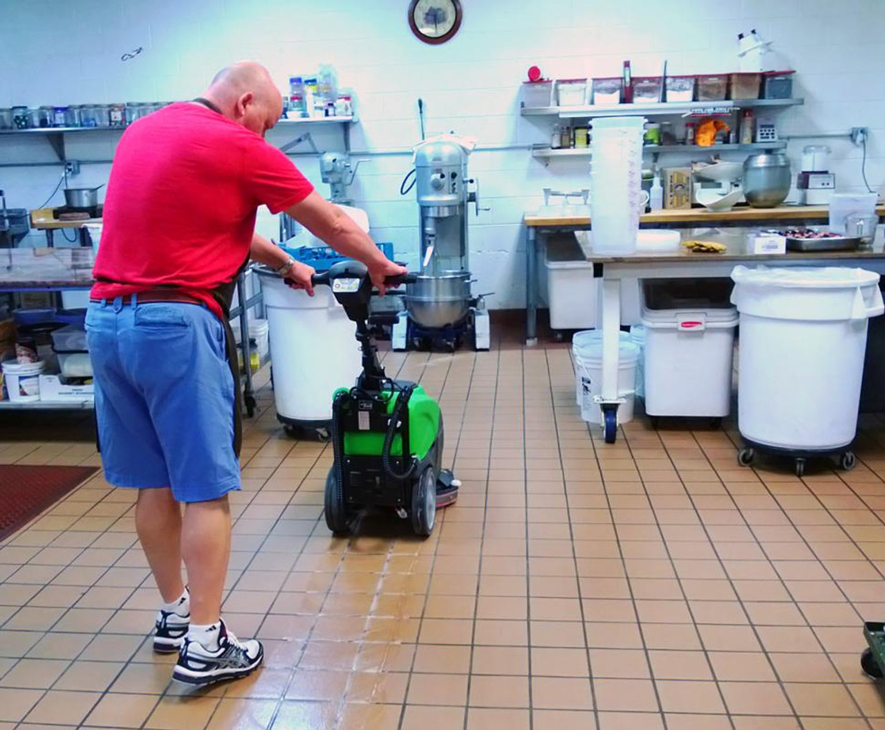 Floor clean up in a bakery.