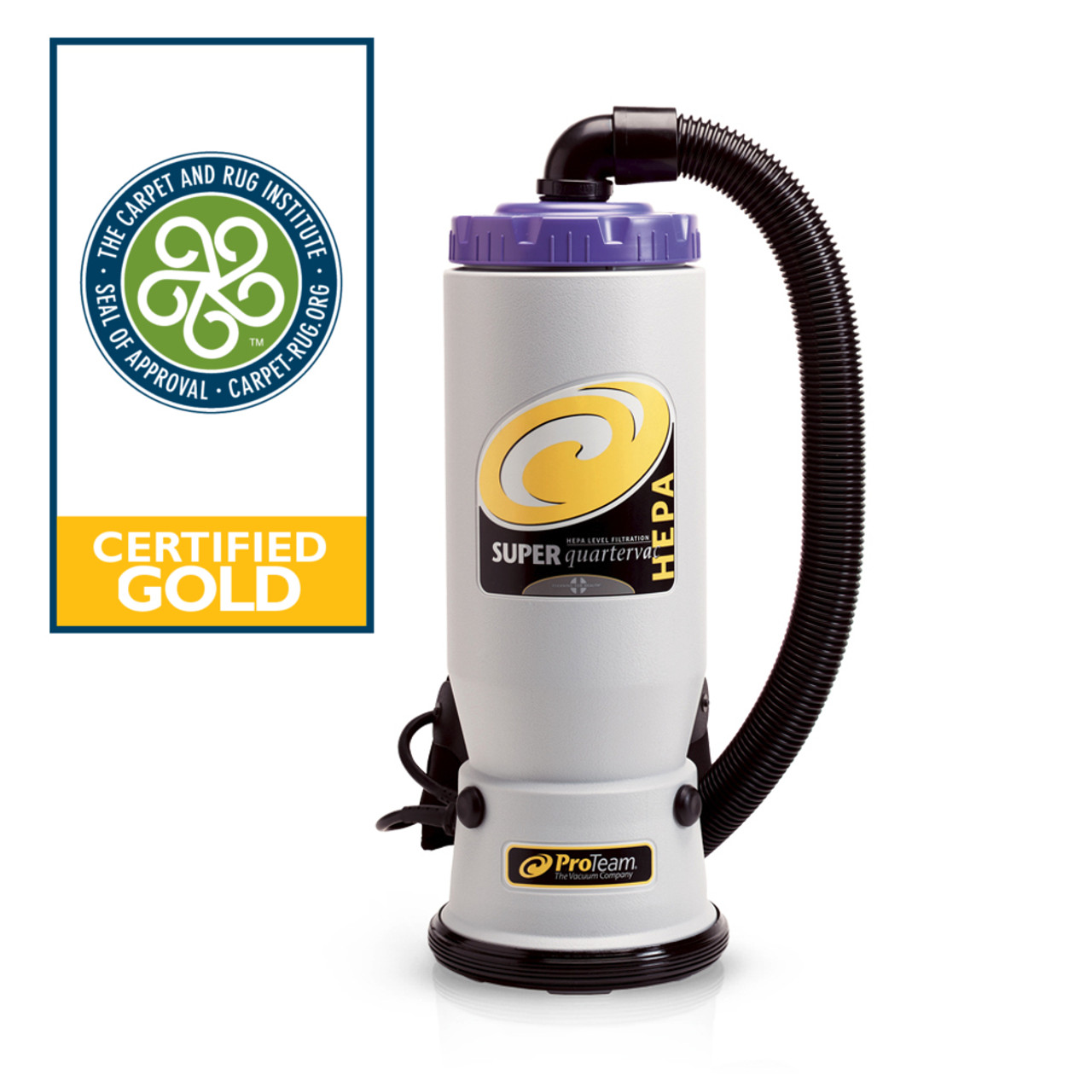 The Super QuarterVac is a powerful backpack vaccum with 6 qt. capacity and is certified Gold for 99.9% efficiency in picking up particulates.