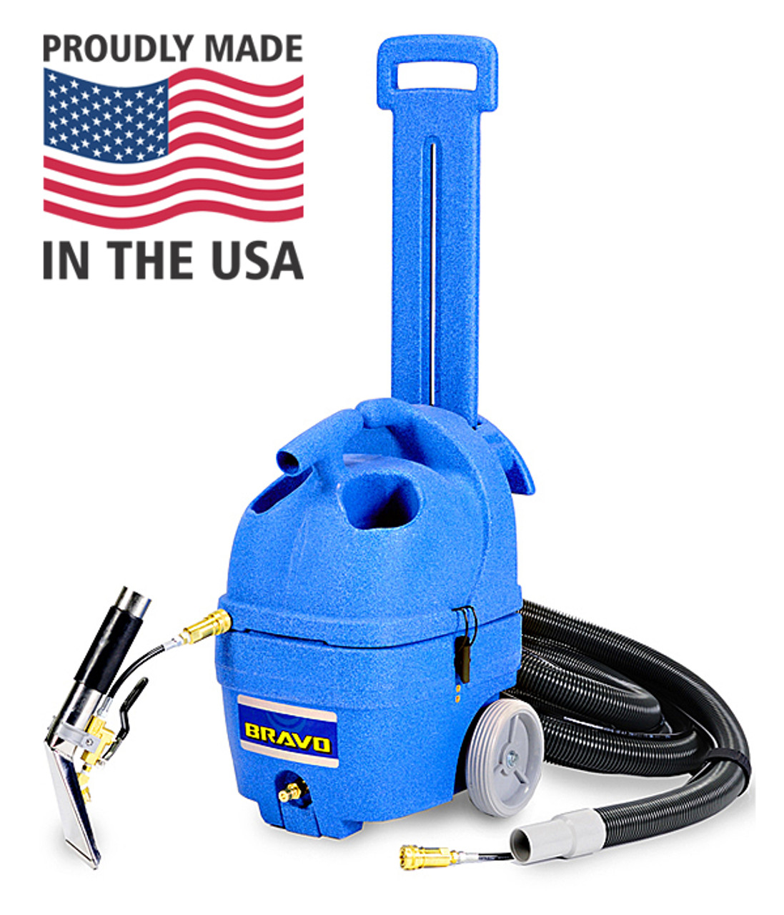 The Bravo Carpet Spotter from Dura Wax comes with 8 ft hose and Stainless Steel upholstery/stair tool.