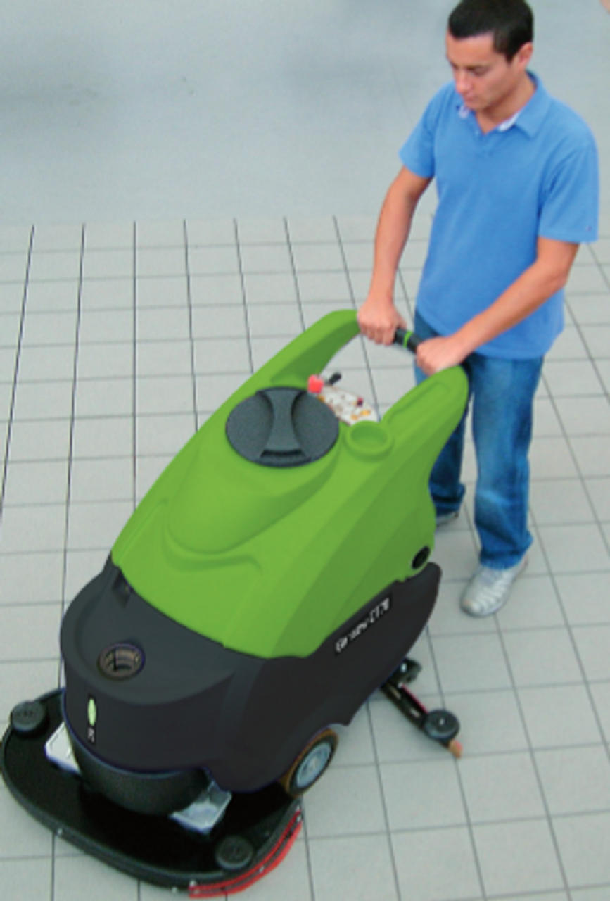 The unique design of this autoscrubbers squeegee quickly cleans and dries uneven floor surfaces.