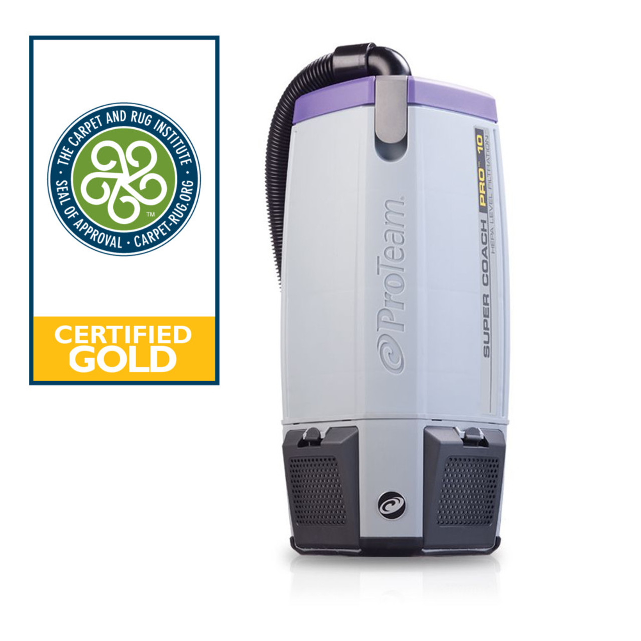 The Super Coach Pro 10  is a powerful backpack vaccum with 10 qt. capacity and is Gold certified for 99.9% efficiency in picking up particulates.