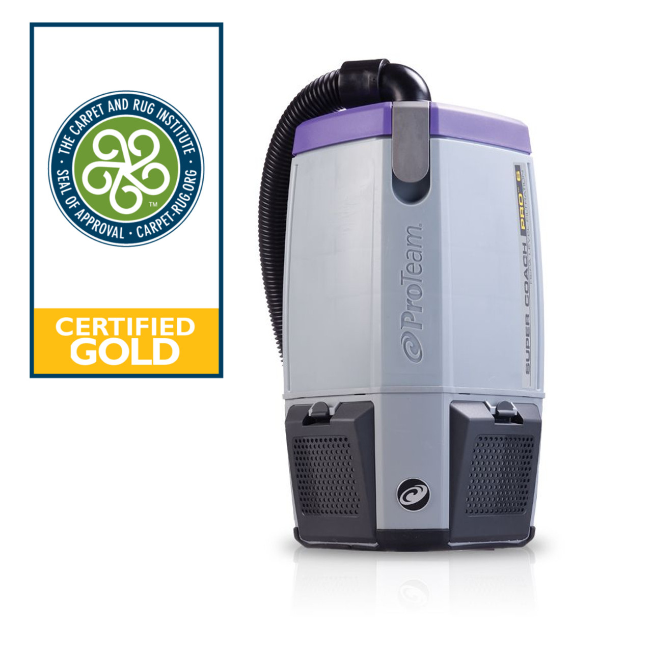 The Super Coach Pro 6  with 6 qt. capacity and is Gold certified for 99.9% efficiency in picking up particulates by the Carpet and Rug Institute.